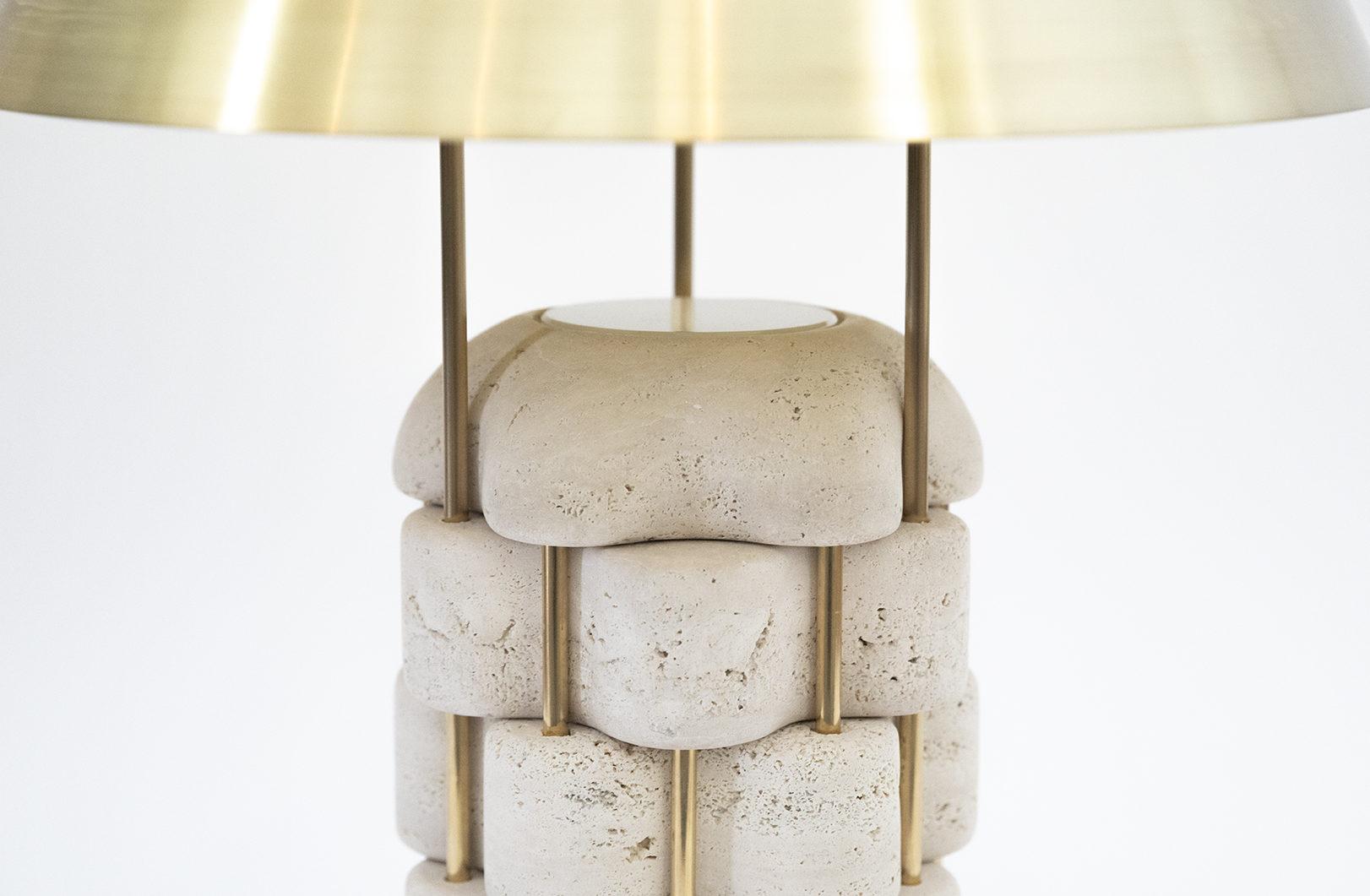 Horia Lampe Travertin Laiton France Italie Amoriae Design